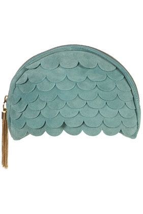 scalloped suede clutch bag