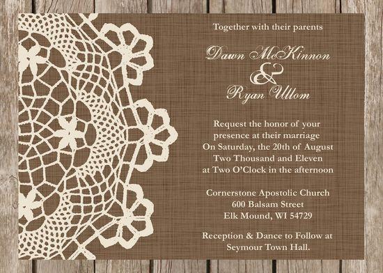 Rustic Doily Wedding Invitation, Vintage Lace Wedding Invitation, customizable.  via Etsy.