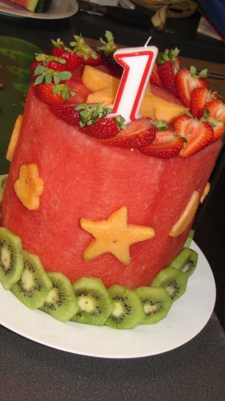"So cool! This birthday ""cake"" is made entirely of fruit."