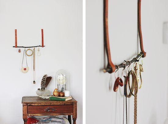 DIY: leather & twig jewelry organizer
