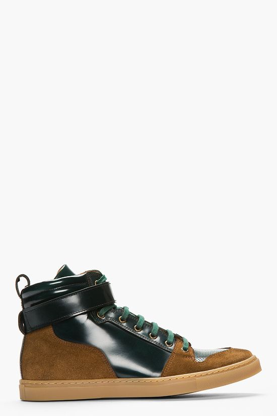 AMI - DARK GREEN SUEDE-TRIMMED LEATHER HIGH-TOP SNEAKERS
