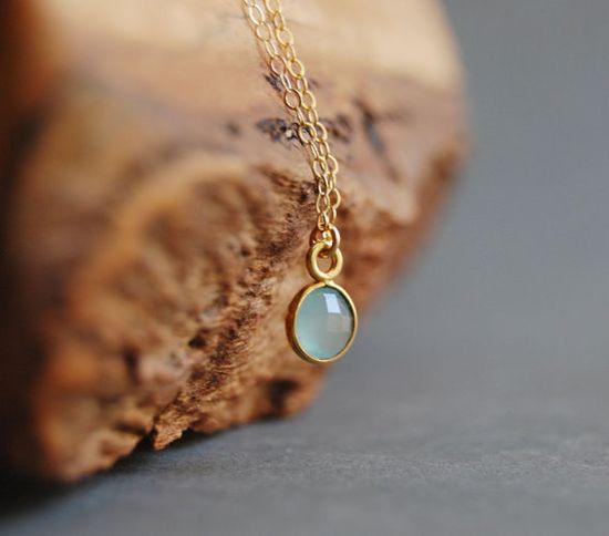 Kamaka necklace aqua chalcedony gold pendant by kealohajewelry