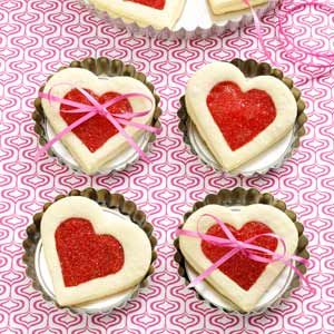 Cherry-Filled Heart Cookies Recipe from Taste of Home -- shared by Audrey Groe of Lake Mills Iowa  #Valentines