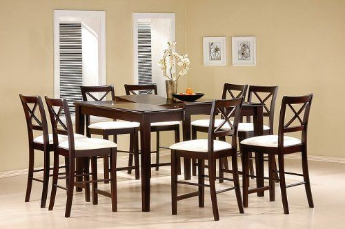 "9 Piece Cappuccino Finish Counter Height Dining Set with Butterfly Leaf By Coaster Furniture by Coaster Home Furnishings. $884.53. dinning set. dining table set. dining set furniture. dining sets. square dining set. Attractive dark walnut finish is one of the highlights of this counter height table, square setting allows for face to face gathering around with your family and friends. Table 36""h, Seats 24""h."
