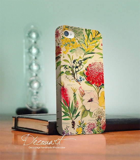 Floral iPhone 4 case iPhone 4s case floral drawing by Decouart, $26.99