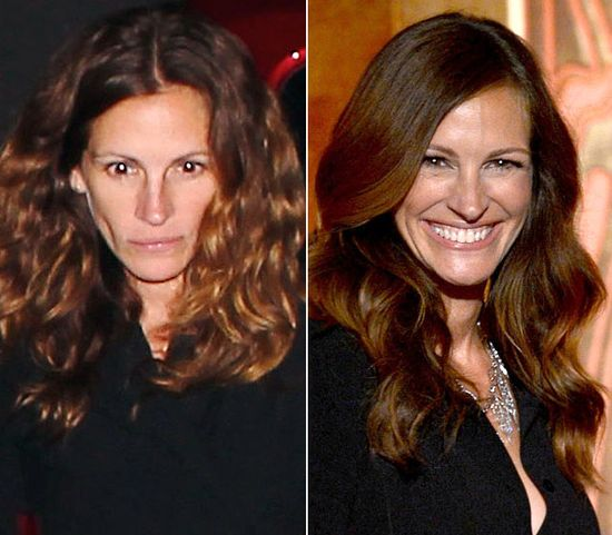 Julia Roberts  On left on June 23, 2012  On right on June 7, 2012. A smile and some mascara and she'd be a PRETTY WOMAN.