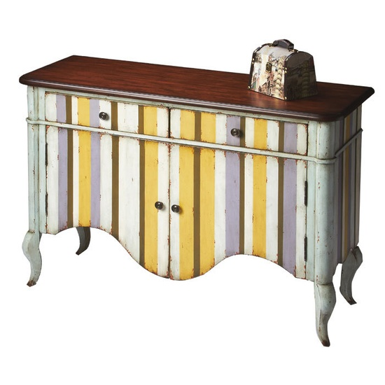 Colorful, distressed stripe chest