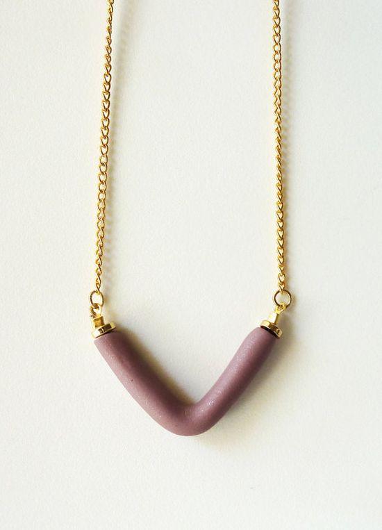 V necklace #necklace #ooak #lavender #purple #shimmer #matte #gold #shiny #V #geometric #handmade
