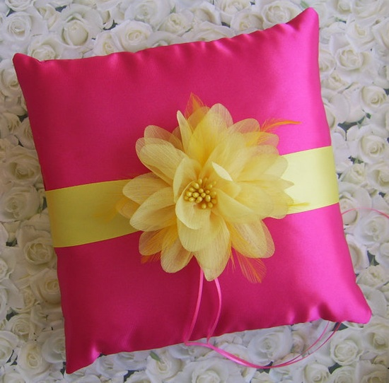 Wedding Ring Pillow Fuchsia and Canary Yellow by All4Brides, $45.00