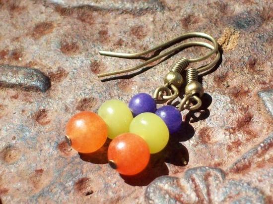 Festival Earrings  blue  green jade  orange by MySoulCanDance, $8.00