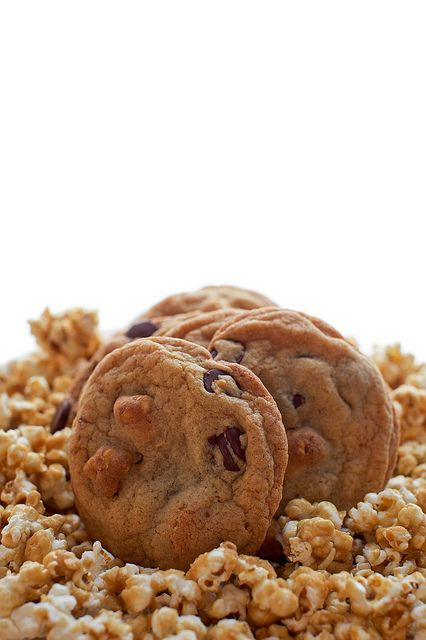 'C' is for Caramel Corn Chocolate Chip Cookies! Homemade caramel corn mixed in with homemade chocolate chip cookie batter, then baked to perfection. What an exciting and mouthwatering combo! (Annie's Eats)