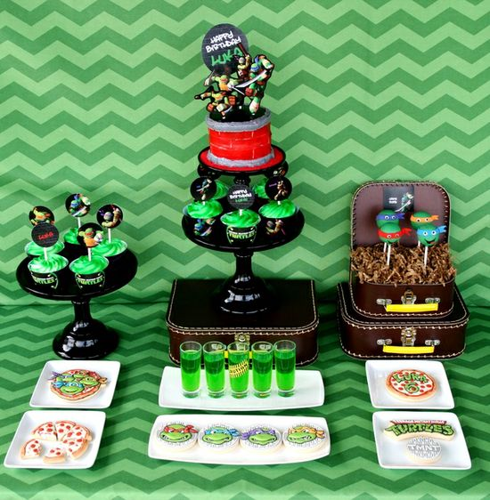 Amazing Teenage Mutant Ninja Turtle Party.  See more party ideas at CatchMyParty.com.  #teenagemutantninjaturtlespartyideas