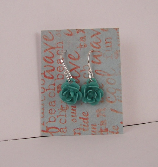 Turquoise Rose Small Cute Sterling silver Earrings by ilovemy1984, $8.00