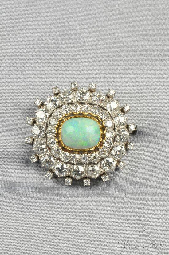 Platinum, Opal, and Diamond Brooch