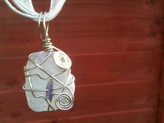 Clear Irish Sea Glass & Amethyst - Wire Wrapped Pendant...