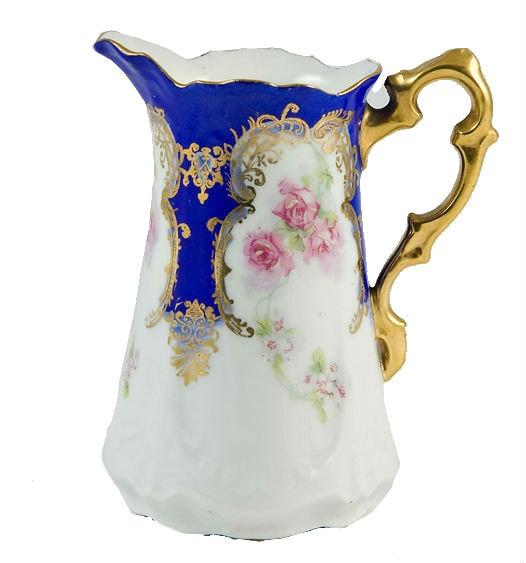 Art Nouveau English Edwardian Porcelain Milk Jug with Painted Floral Decoration.