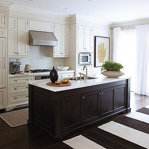 White cabinets, brown island