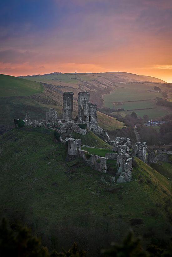 Corfe Castle, Dorset, England.