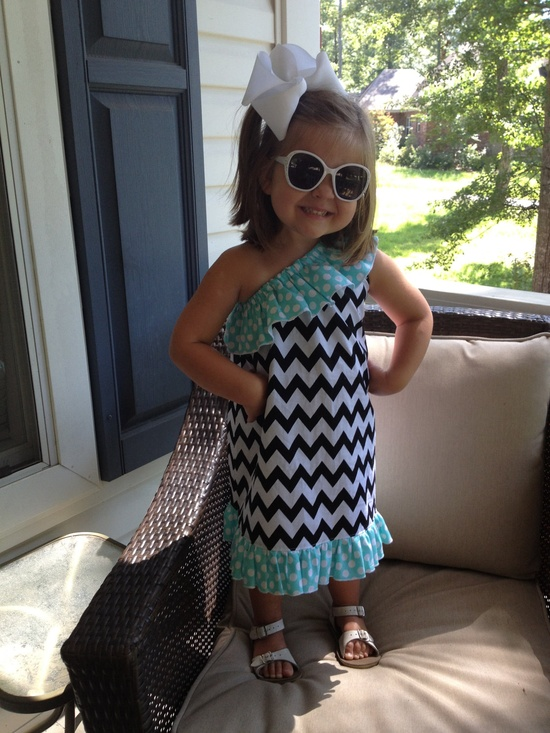 Girls One Shoulder Chevron Dress  via Etsy.