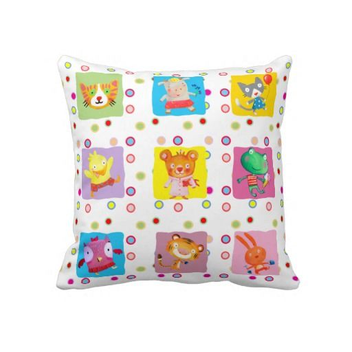 kids room baby animal characters throw pillows
