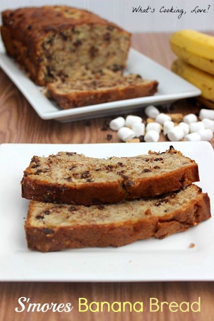 S'mores Banana Bread on MyRecipeMagic.com. This tastes amazing!!! #bananabread #s'mores #recipe