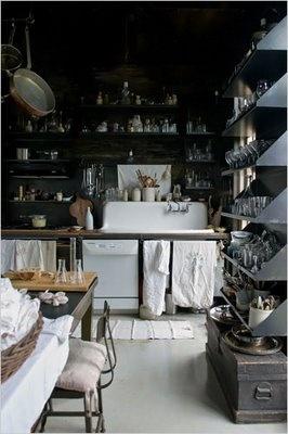 Black cooking kitchen