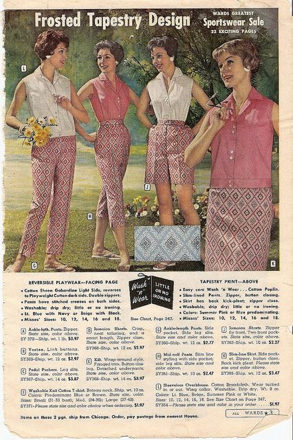 Stylish 1950s casual summer wear featuring a frosted tapestry design print. #pants #skirts #shorts #vintage #dress #retro #fashion #1950s #summer