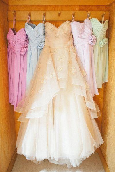 wedding dress, off white, bridesmaids dresses, pastel, rainbow