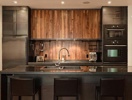 Wood wall. Kitchen