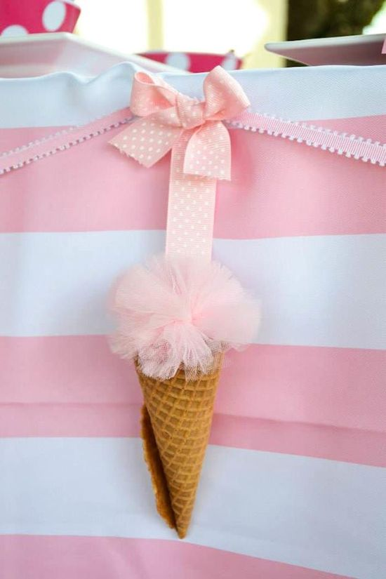 LOOK at this diy ice cream cone party banner! Minnie Mouse Ice Cream Party full of cute ideas via Kara's Party Ideas KarasPartyIdeas.com #minniemouse #partyideas #supplies #birthday #icecream #banner #icecream