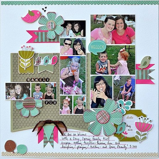 Family fun! - Scrapbook.com  Multiple photos make a great page to remember friends & family.