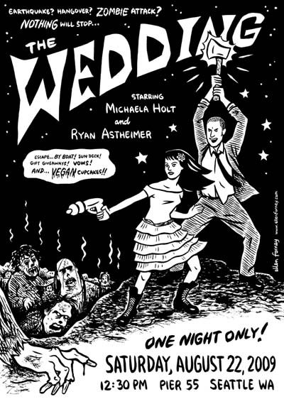 Ellen Forney's Zombie wedding invitations. LOTS more zombies over here: offbeatbride.com/...