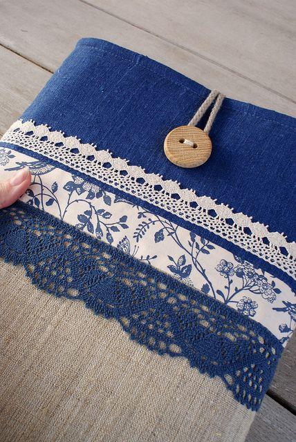 navy blue denim + linen + blue lace