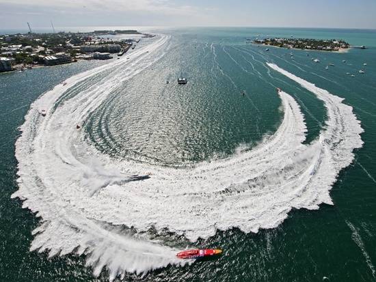 Superboat Extreme race boats make the turn during Race 2 at the Key West World Championships in Key West Harbor
