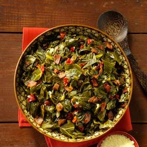 Mardi Gras Side Dishes Recipes from Taste of Home, including Bacon Collard Greens Recipe