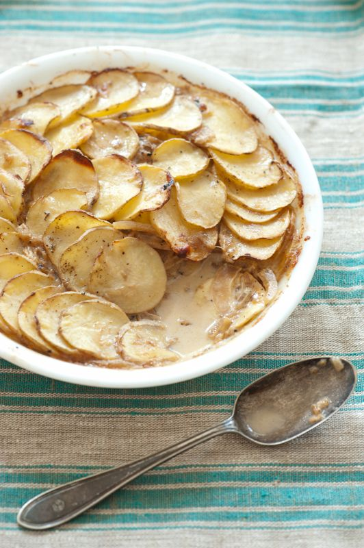 Recipe for Caramelized Onion & Potato Gratin ideal for a winter mid week meal or festive holiday side.