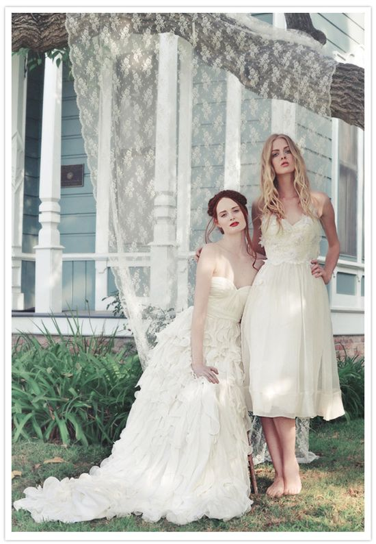 neat photo with the lace...Ivy & Aster gowns