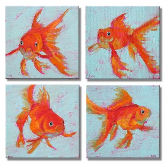4 Goldfish - Original Paintings by betsymclellanstudio, $55.00