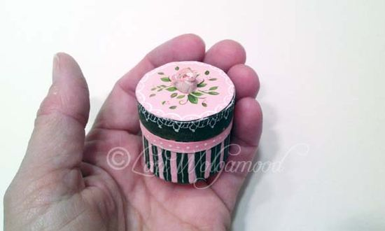 Hat Band Box No.4 Miniature Doll House - Hand Painted - SOLD - Vintage Nest Designs, Creative Handmade and Hand Painted Designs