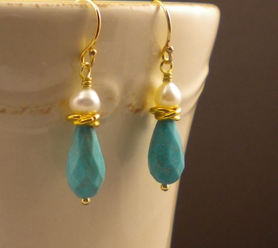 Gold Turquoise Pearl Earrings