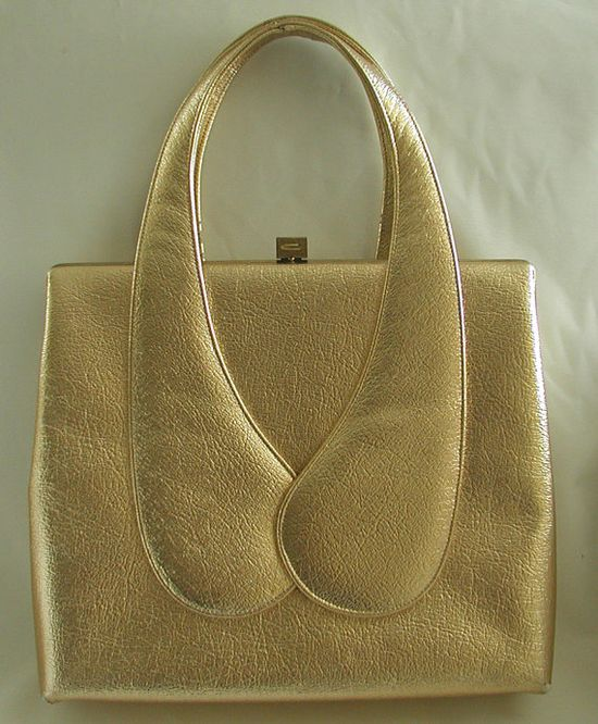 Go for the GOLD sculptural vintage handbag