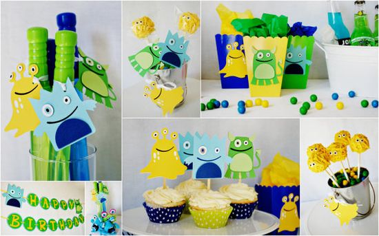 Our Little Monster Party Items Collage by pinwheellane.etsy...
