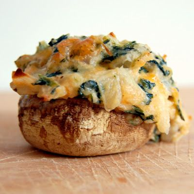 Spicy spinach stuffed mushrooms
