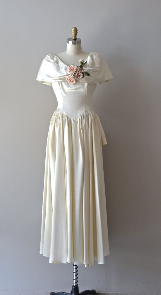 1940s wedding dress / vintage 40s dress / Tout ou by DearGolden, $425.00