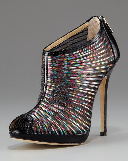 Jimmy Choo Hologram Mesh & Patent Bootie: Iridescent strips sewn on sheer mesh, reinforced with patent leather trim and heel counter. $1395 #Shoes #Jimmy_Choo #Hologram_Bootie