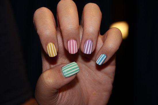 Pastel stripes nail polish