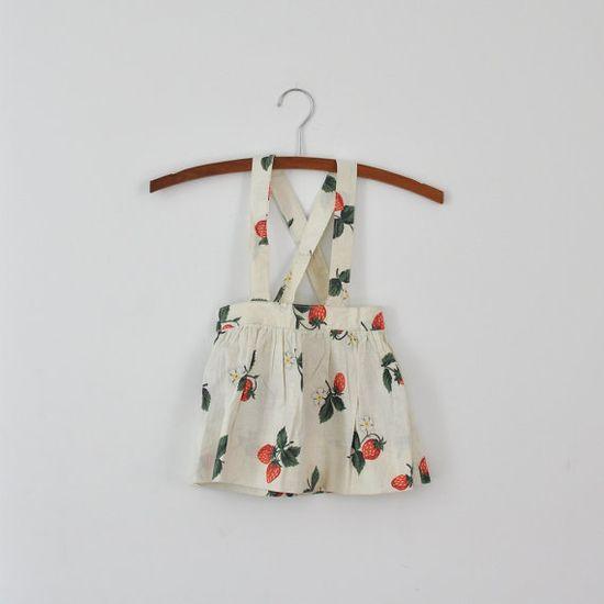 Vintage Strawberry Jumper Skirt 18 months  by littlereadervintage