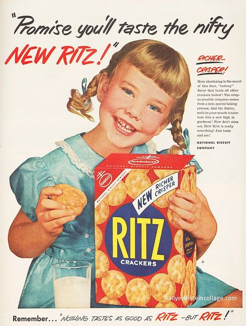She's cute as a button, it would be really hard not to try the new Ritz after seeing this ad :) #cute #ads #vintage #1950s #crackers #food #fifties