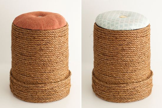 Can you believe these chic mini ottomans were made out of orange buckets?