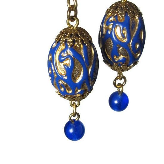 Blue Bead Dangle Earrings, Royal Blue Earrings. $8.00, via Etsy.